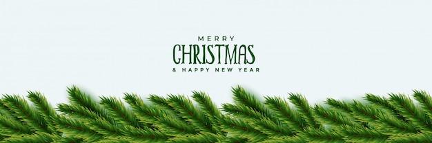 Elegant christmas tree green leaves banner design