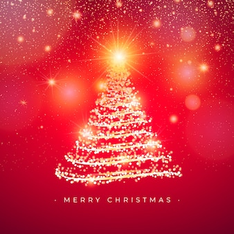 Elegant christmas tree greeting card