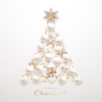 Элегантная новогодняя елка из 3d реалистичных белых безделушек