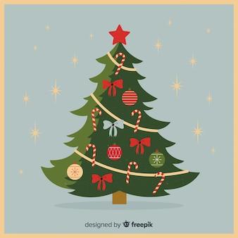 Elegant christmas tree with vintage design