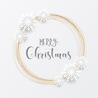 Elegant christmas with gold circular frame and snowflakes