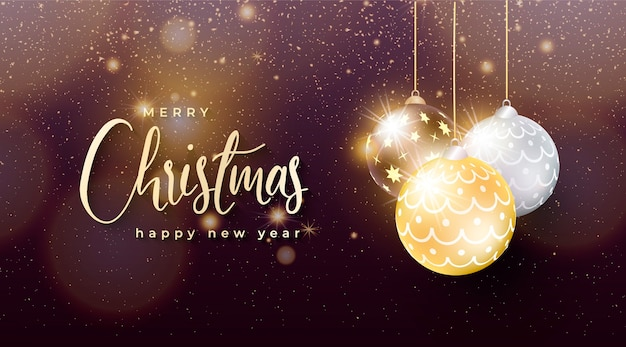 金と銀のクリスマスボールとエレガントなクリスマスの背景