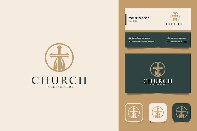 Элегантная церковь с дизайном логотипа руки и креста и визитной карточки