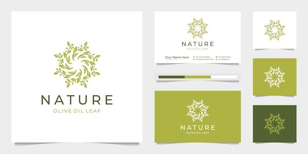 우아한 원형 잎 트리 분기 올리브 오일 로고 디자인. 프리미엄 벡터