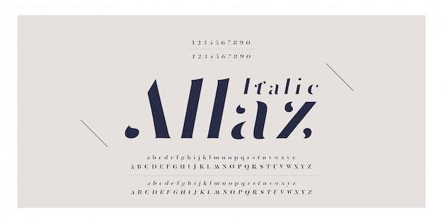 Elegant classic alphabet letter italic font number