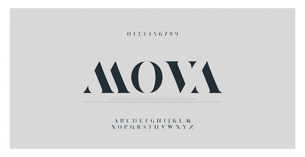 Elegant classic alphabet letters font and number
