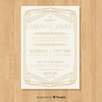 Elegant classic wedding invitation template in art deco style