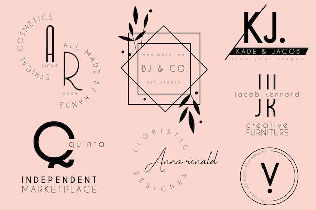 우아하고 깨끗한 최소한의 여성 로고 템플릿 디자인 컬렉션