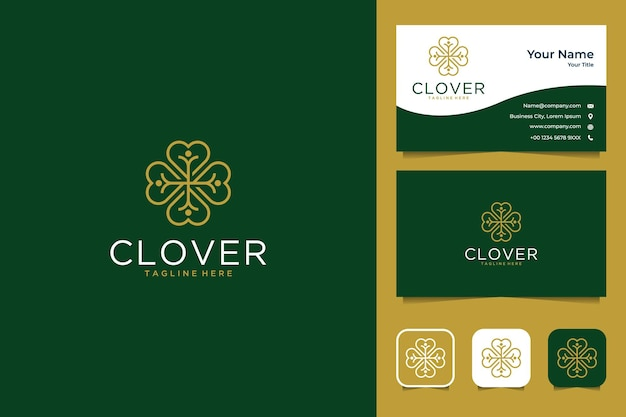 Elegant clover with health logo design and business card