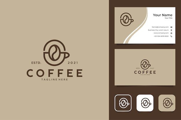 エレガントなコーヒーのロゴのデザインと名刺