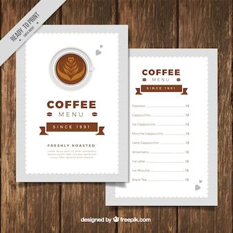 Elegant coffee menu