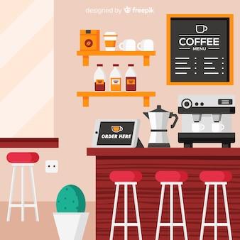 Elegant coffee shop interior with flat design