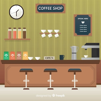 Elegant coffee shop interior with flat design