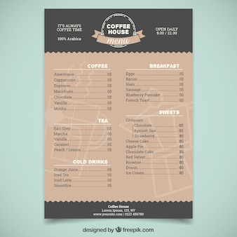 Elegant coffee shop menu template
