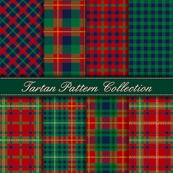 Elegant collection of dark green blue red tartan seamless patterns