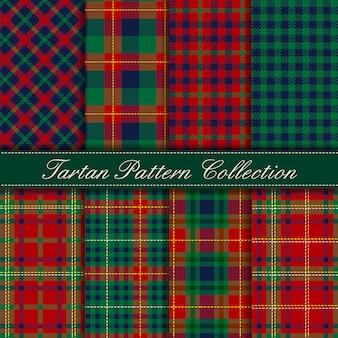 Elegant collection of dark green blue red tartan seamless patterns