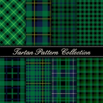 Elegant collection of dark green tartan seamless patterns