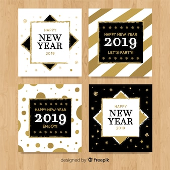 Elegant collection of golden new year 2019 cards