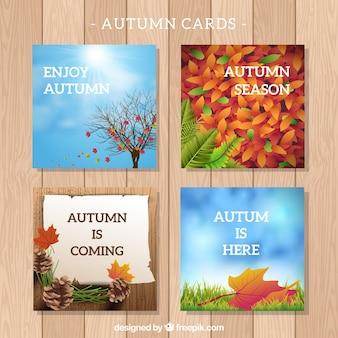 エレガントな秋のカードのコレクション