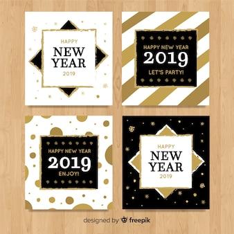 金色の新年2019カードのエレガントなコレクション