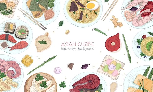 Elegant colored hand drawn background with traditional asian food, detailed tasty meals and snacks of oriental cuisine - wok noodles, sashimi, gyoza, fish and seafood dishes