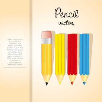Elegant of colored pencils stripe and space template