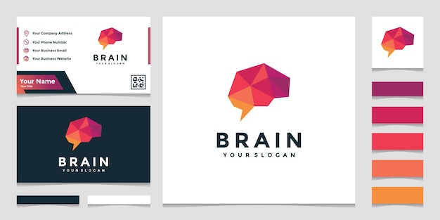 Elegant colorful brain logo with business card design