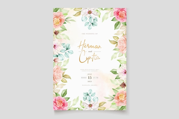 Elegant colorful floral wedding invitation card set Free Vector