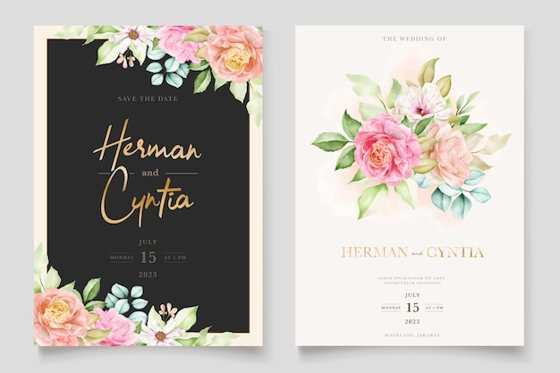 Elegant colorful floral wedding invitation card set