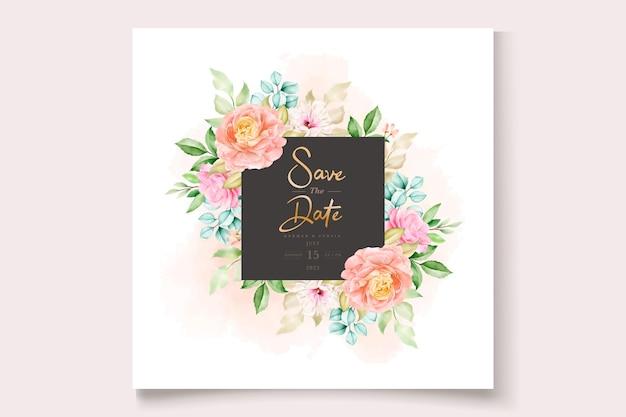 우아한 화려한 꽃 결혼식 초대 카드 세트