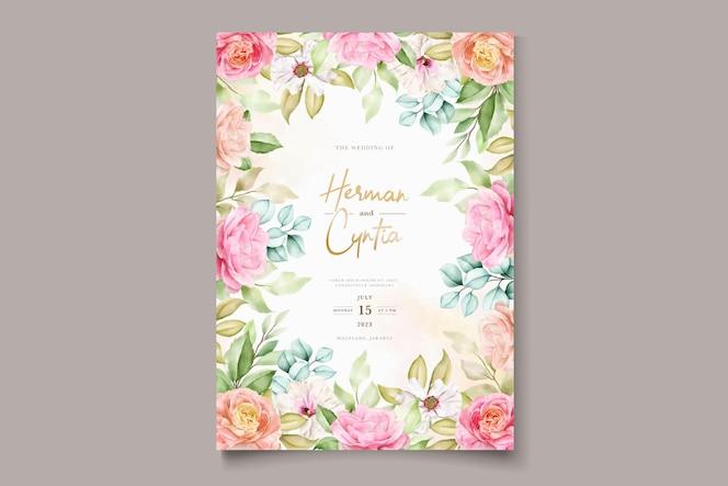 Set di carte invito matrimonio floreale colorato elegante