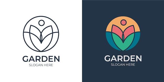 Elegant colorful garden logo set