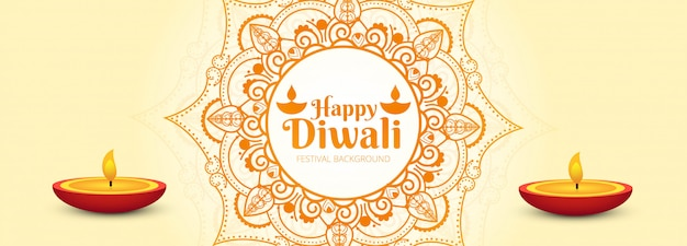 Elegant colorful happy diwali card festival banner