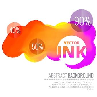 カラフルなインクスプラッシュベクトルデザインの背景イラストを流れる