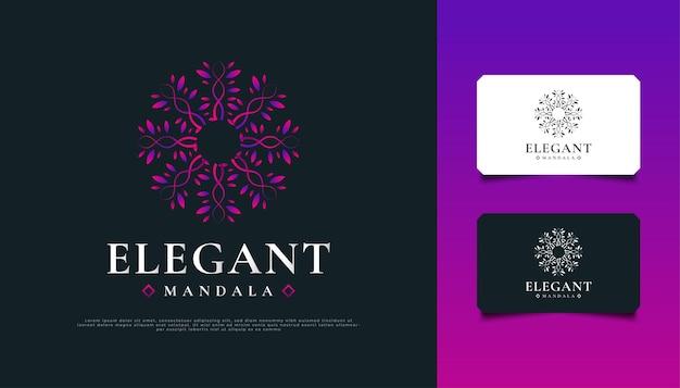 エレガントなカラフルな曼荼羅のロゴデザイン。スパ、美容、リゾート、または化粧品のブランドアイデンティティに適したネイチャーフローラルオーナメント