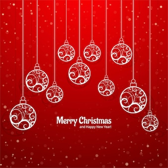 Elegant colorful merry christmas ball greeting card background vector