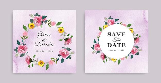 우아한 다채로운 둥근 모양의 꽃 디자인 결혼식 초대 카드 템플릿입니다.