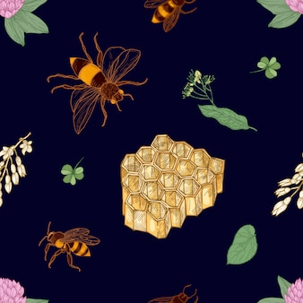 Elegant colorful seamless pattern with hand drawn bees, honeycomb, linden leaves and blooming meadow flowers on dark background. natural illustration for textile print, wallpaper.