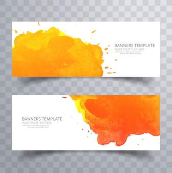 Elegant colorful watercolor banner set vector