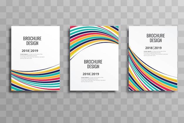 Elegant colorful wave business brochure template set vector