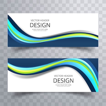 Elegant colorful wavy banners
