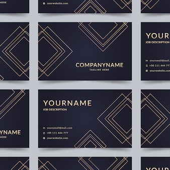 Elegant company card with golden lines