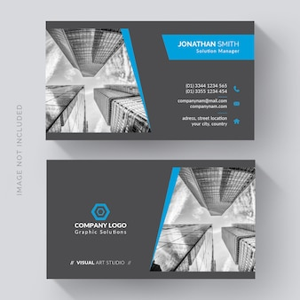 Elegant corporate business card with photo of city
