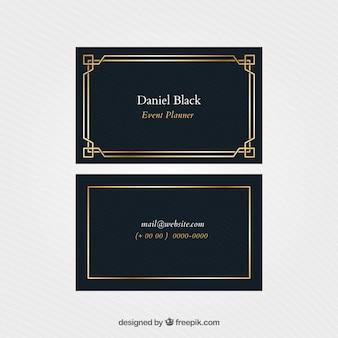 Elegante cartoncino aziendale con cornice dorata