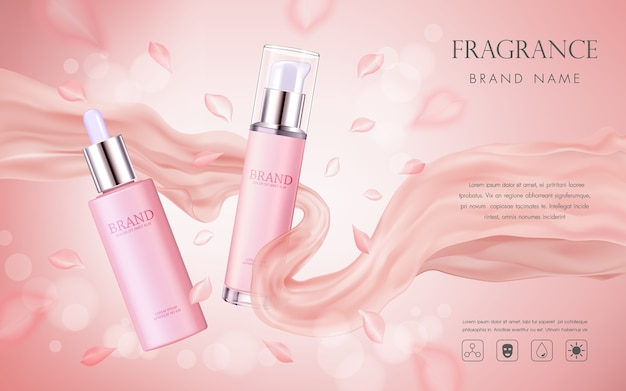 Elegant cosmetic advertising with pink floral petals and silk texture