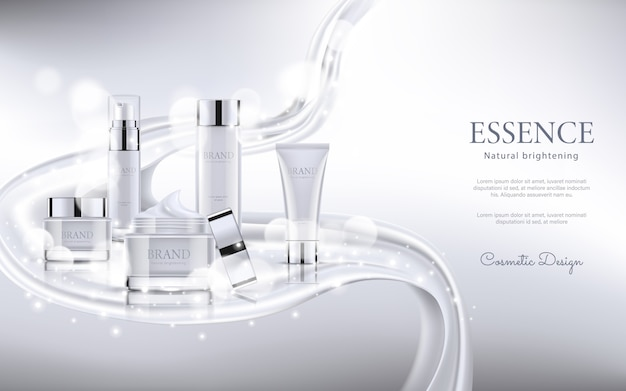 Elegant cosmetic advertising with silk texture