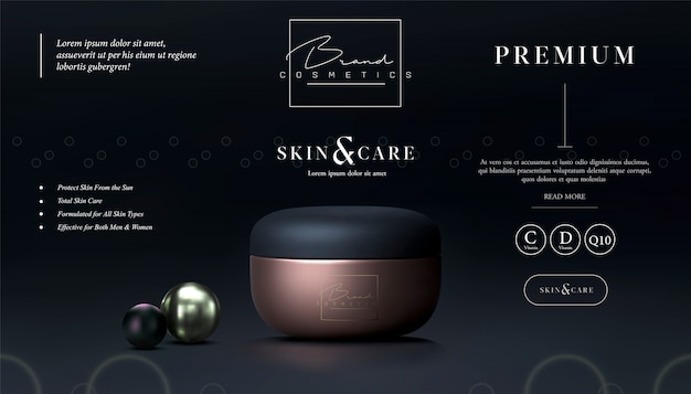 Elegant cosmetic black and gold background cream jar for skin care products. luxury facial cream. beautiful flyer or banner design for cosmetic ads. cosmetic cream template. makeup brand.