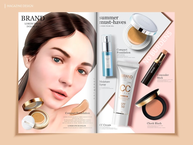 Elegant cosmetic brochure design, skincare and makeup products on geometric background magazine or catalog