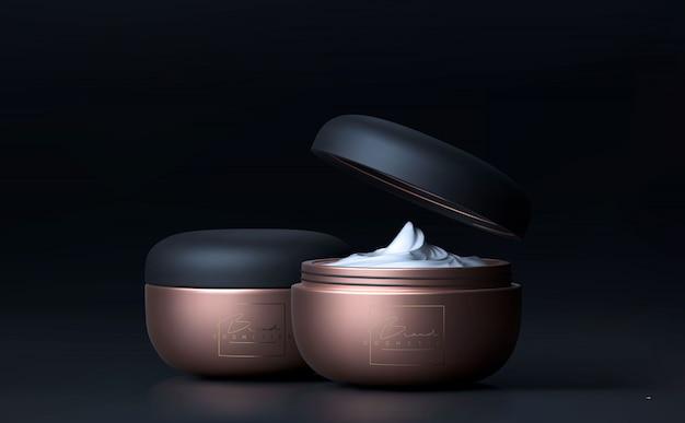 블랙 스킨 케어를위한 우아한 화장품 페이스 크림 항아리. 광고를위한 아름다운 메이크업 화장품 템플릿.