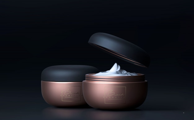 Elegant cosmetic face cream jar for skin care on black . beautiful make up cosmetic template for ads.